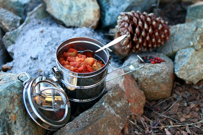 camping food cooking stew