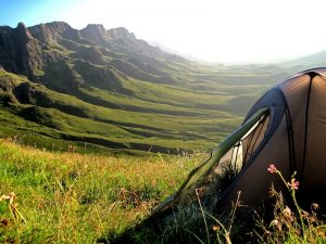 view from tent wild camping