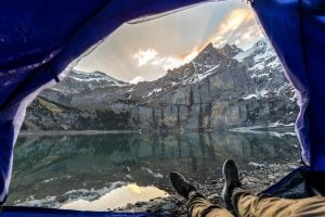wild camping tent view