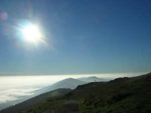 Worcestershire beacon in the mist - best uk walking routes for winter