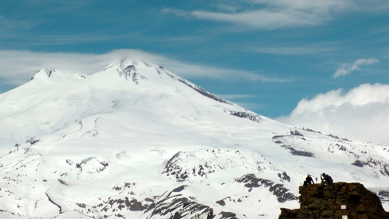 the slopes of the summit of Mount Elbrus - europe's highest mountain