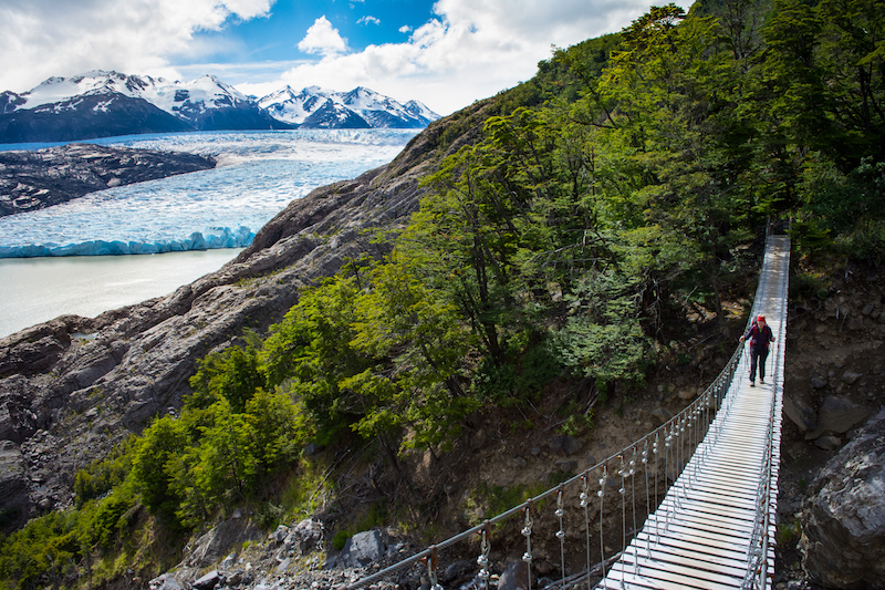 patagonia hiking suspension bridge torres del paine