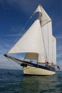 traditional tall ship maybe sailing