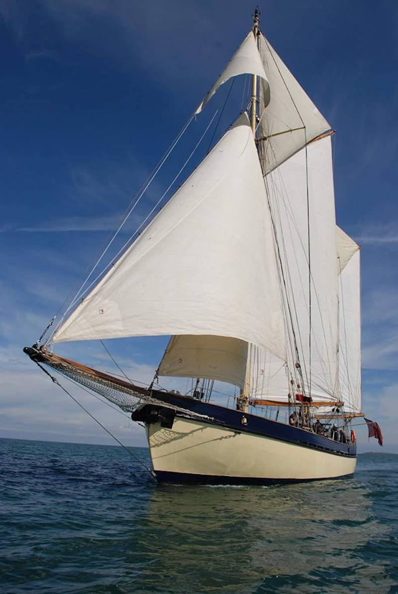 traditional tall ship maybe sailing