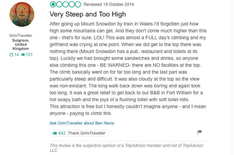 ben nevis funny reviews for mountains