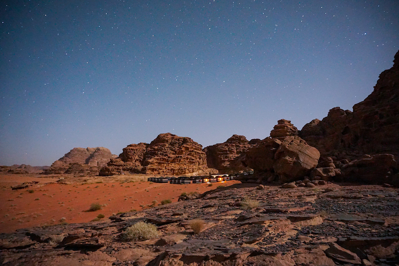 camping out under the stars after visiting the ancient city of Petra