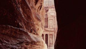 A view of Petra through the canyon