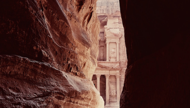 A view of Petra through the canyon