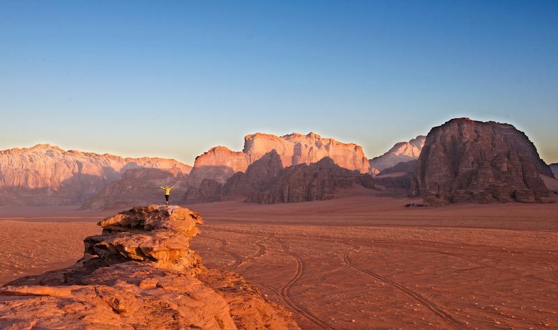 Sunrise at Wadi Rum in Jordan - ancient city of Petra