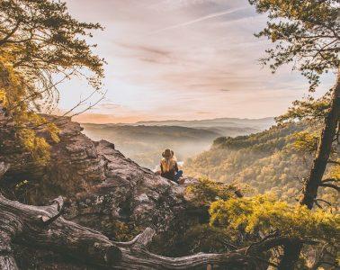 Woman hiking in America