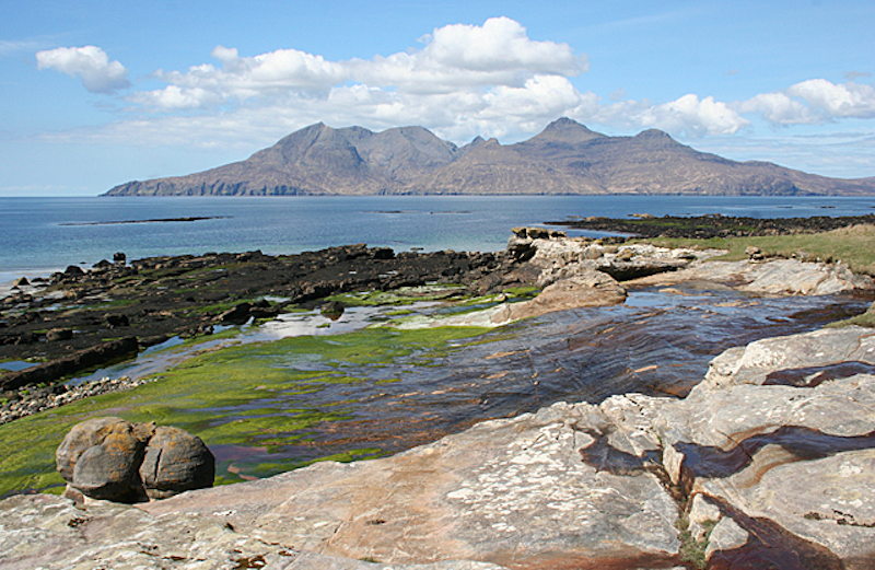 A view from the Isle of Eigg over to the Isle of Rum, near Cleadale Campsite