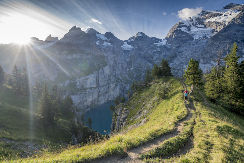 Hiking abover oeschinen lake near kandersteg