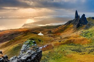 A sunset over Old mn of Storr, Isle of Skye, one of the best hikes in Scotland