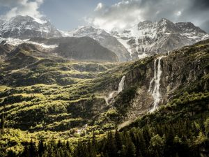 The valley of waterfalls in Switzerland