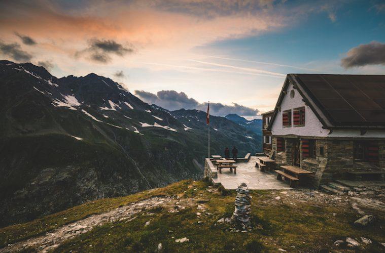Sunset over the Turtmann mountain hut