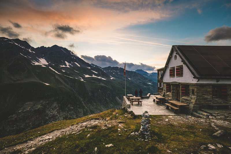 Sunset over the Turtmann mountain hut