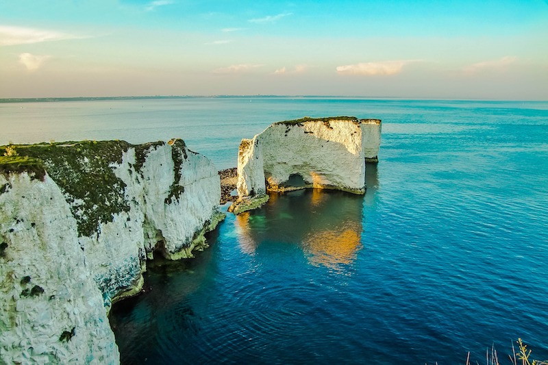 The old harry rocks can be reached from downshay farm, one of the best UK campsites