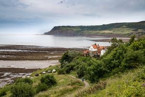 A view of Robin Hoods Bay from Hoos House Farm, best UK campsites
