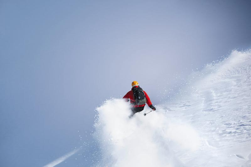 A skier descending Mount Affawat in Gulmarg, Kashmir, India
