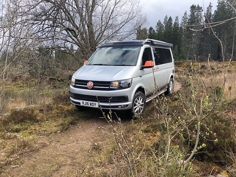 Campervan off-road in Scotland