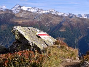 A waymark on the Slovenian Mountain Trail, a long-distance path considered to be one of the more remote hiking trails in europe.