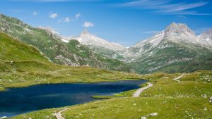 Four Source Trail lake in Switzerland