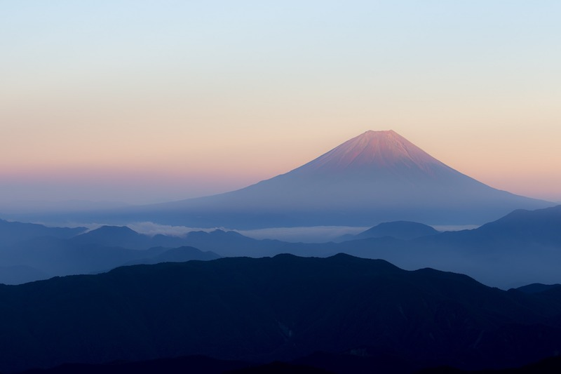view from Mount Hirogawara at sunrise with mount Fuji in the distance