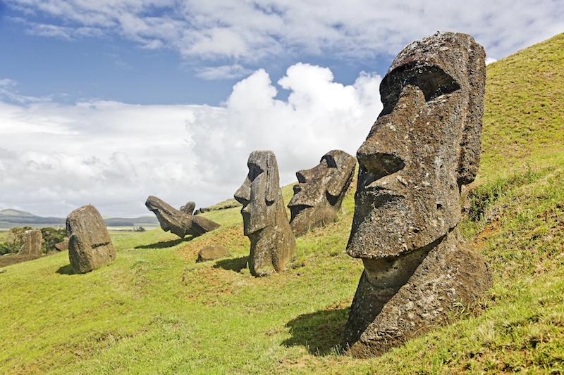 Moais in Rapa Nui National Park on the slopes of Rano Raruku volcano on Easter Island, Chile, one of life's great bucket list adventures
