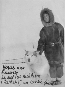 Isobel Wylie Hutchison with a dog