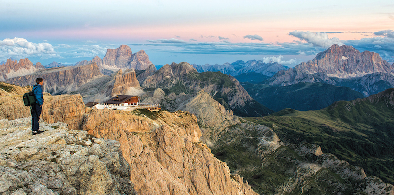 Mountain hut in the Dolomites, Italy, one of the most incredibly unique places to spend the night in Europe