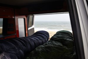 sleeping bags in campervan