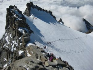 Climbers near the summit of Gran Paradiso in the Aosta Valley