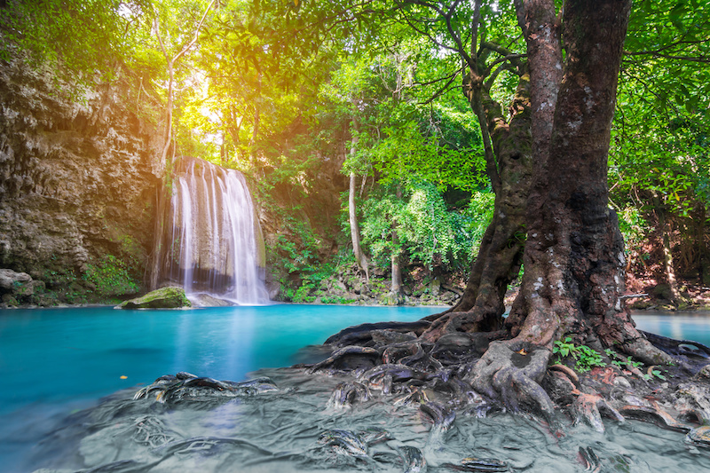 Waterfall in Deep forest at Erawan waterfall National Park, Thailand - epic adventures