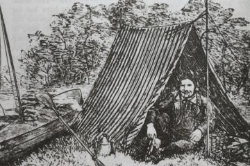 Thomas Hiram Holding canoe camping - from the 1908 Camper's Handbook