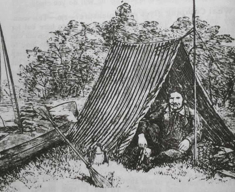 Thomas Hiram Holding canoe camping - from the 1908 Camper's Handbook