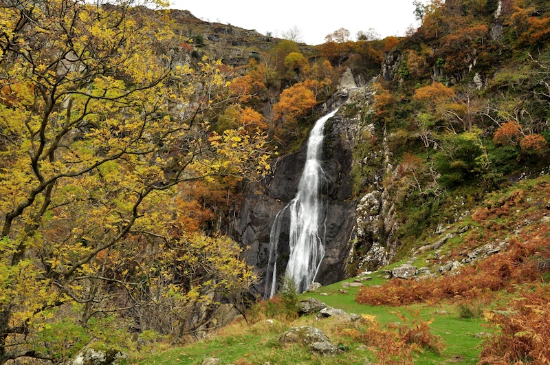Aber falls in autumn, one of the best half-day hikes in Snowdonia
