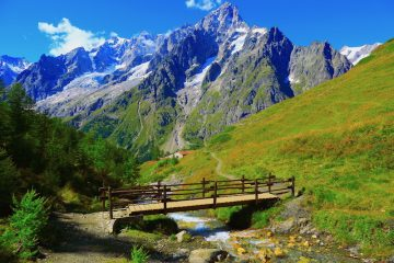 Mont Blanc alpine landscape meadow and pinnacles, Aosta Valley - Courmayeur, Italian Alps