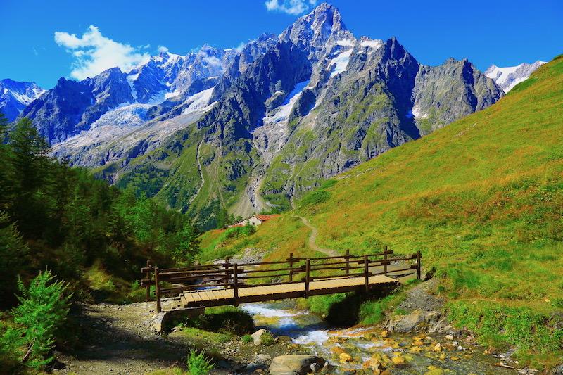 Mont Blanc alpine landscape meadow and pinnacles, Aosta Valley - Courmayeur, Italian Alps