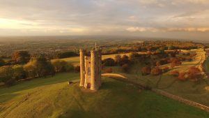 An aerial view of Broadway Tower in autumn