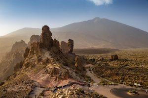 Aerial View of Roques de Garcia in front of Mount Teide Summit, Tenerife, Spain, Europe