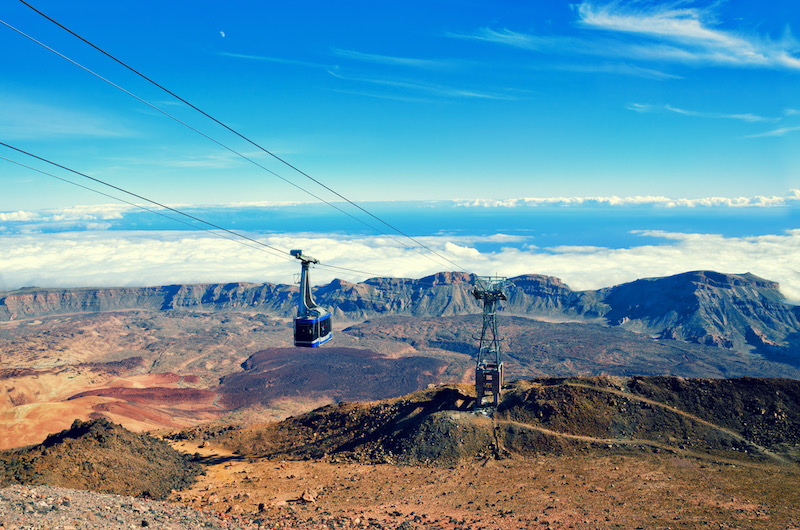 Cableway on the volcano Teide. Touristic way to Pico del Teide mountain. El Teide National park, landmark on Tenerife, Canary Islands, Spain.