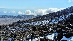 a light dusting of snow on the slopes, climb mount teide