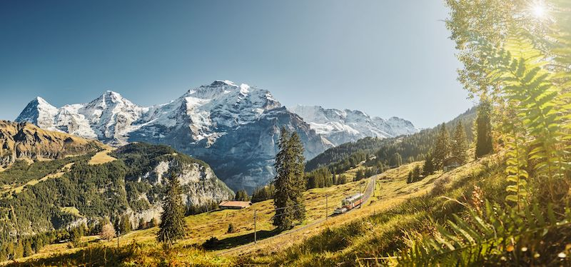 Autumn Train Grütschalp - Mürren, Jungfrau Region