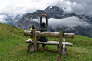 Taking a rest on the Via Alpina near Murren