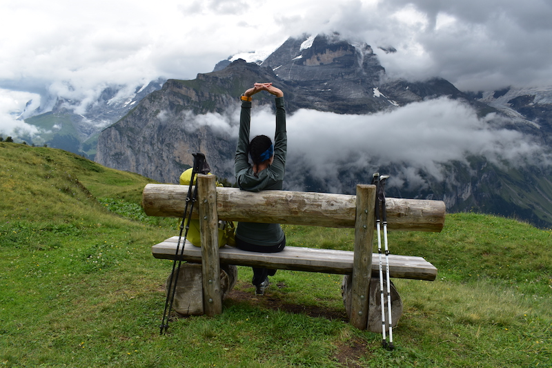 Taking a rest on the Via Alpina near Murren