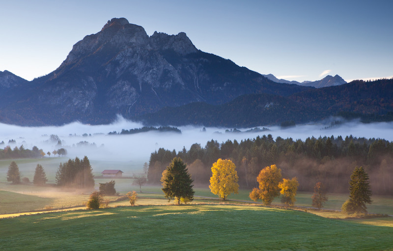 view on mt. sauling near fussen in bavaria, alps, autumn