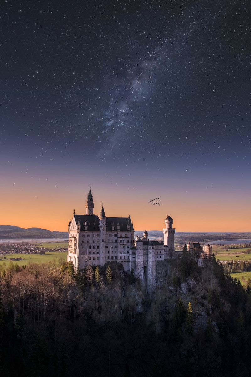 neuschwanstein castle by night