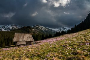 mountain under storm clouds