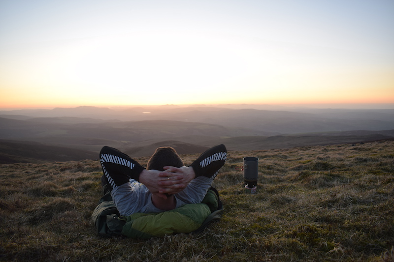 Bivvying and watching the sunset from Cadair Berwyn mountains