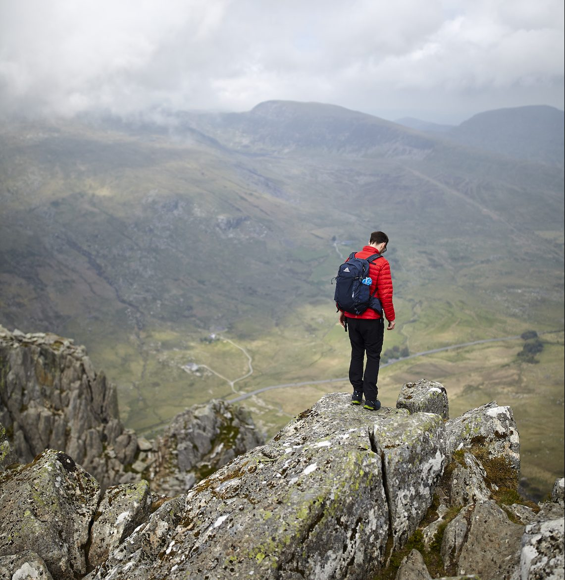 Standing on the edge on a classic scramble in Snowdonia